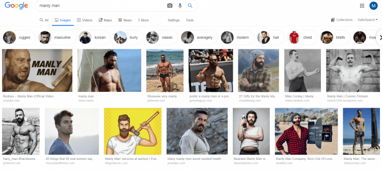 google search for manly man results