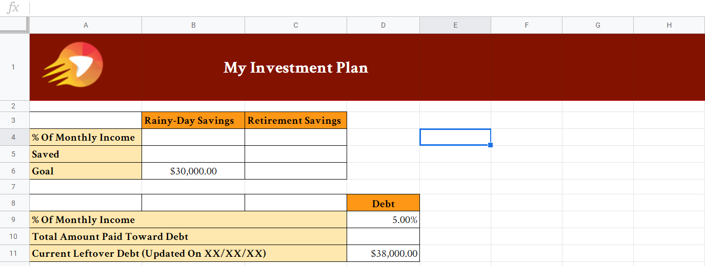 Investment Plan Spreadsheet | Get Your Gusto Back