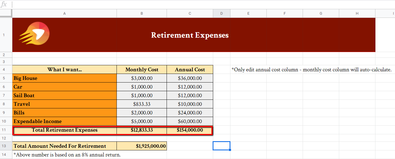 Retirement Expenses Spreadsheet | Get Your Gusto Back